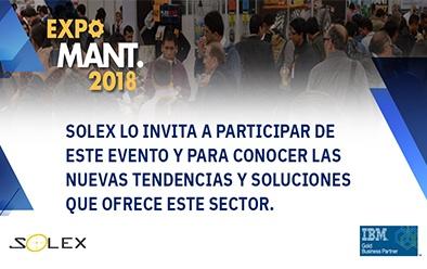 SOLEX PERU & IBM MAXIMO. Participará en EXPO MANTENIMIENTO 2018