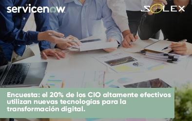 Encuesta: el 20% de los CIO altamente efectivos utilizan nuevas tecnologías para la transformación digital.